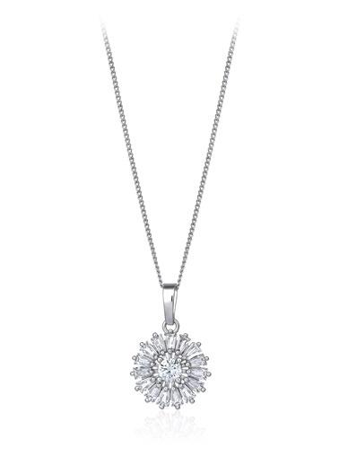 2,20 Ct Pırlanta Efekt Altın Sun Trapes Kolye -Tophills Diamond Co.